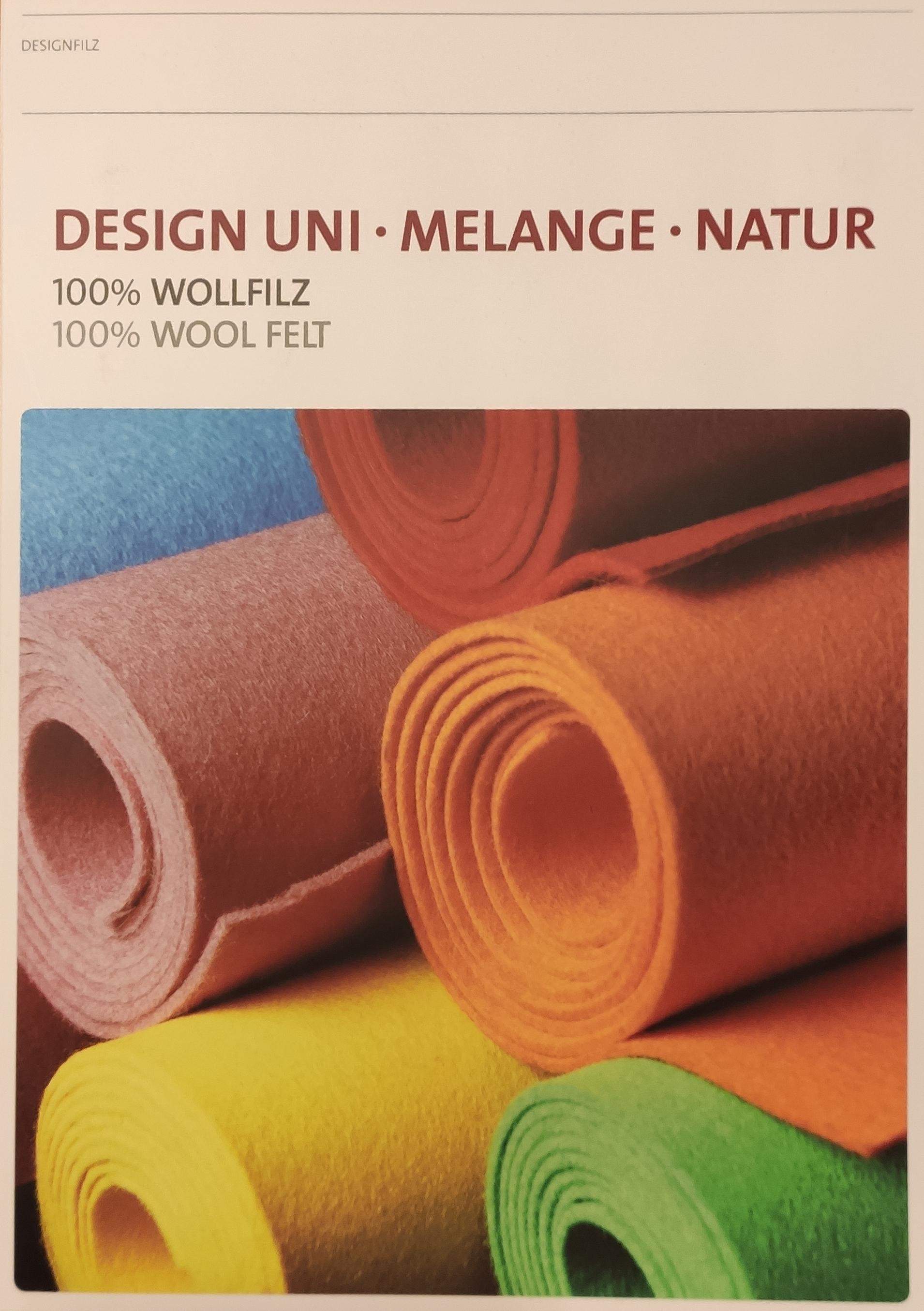 Farb- und Griffmusterkarte, Designfilz uni, melange, natur